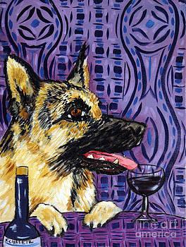 German Shepherd at the Wine Bar by Jay  Schmetz