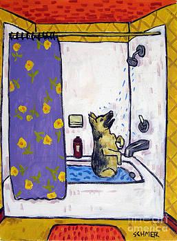 German Shepherd in the Shower by Jay  Schmetz
