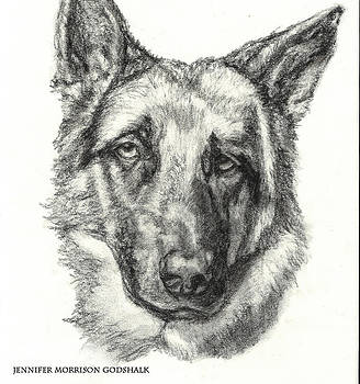 German Shepherd Sketch No.1 by Jennifer Morrison Godshalk