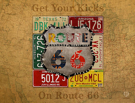 Get Your Kicks on Route 66 Vintage License Plate Art on Worn United States Highway Map by Design Turnpike