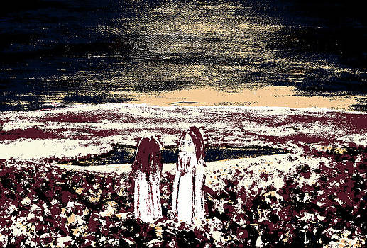 Lovers. Ghosts of Hippies On Blossoming Hills Scenery by Krzysztof Spieczonek