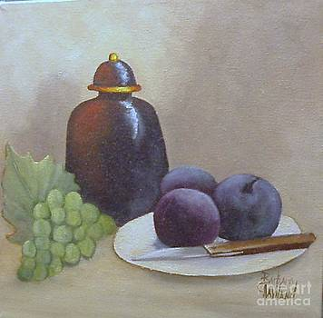 Ginger Jar and Plums with Grapes by Barbara Haviland