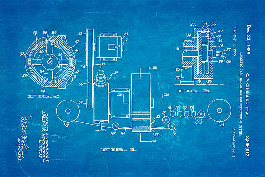 Ian Monk - Ginsburg Video Tape Recorder Patent Art 1958 Blueprint