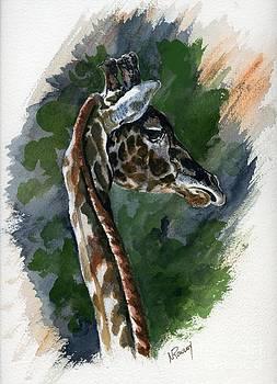 Giraffe on Alert by Norma Rowley