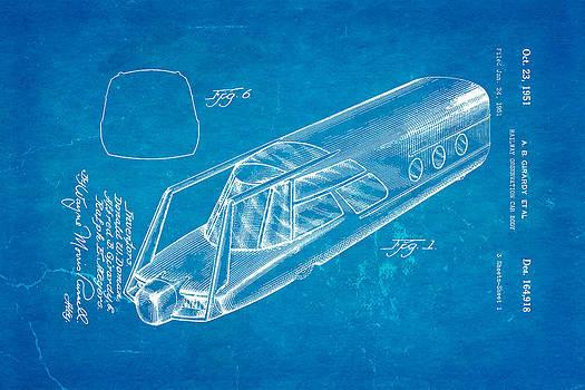 Ian Monk - Girardy Railway Observation Car Patent Art 1951 Blueprint