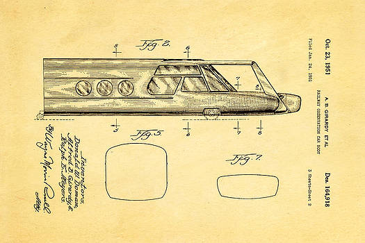 Ian Monk - Girardy Railway Observation Car Patent Art  2 1951