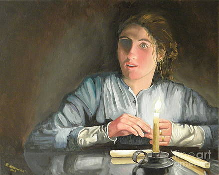 Girl At Glass Top Table by Robert Arsenault