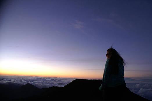 Girl at Sunrise at Haleakala by Paul Lavoie