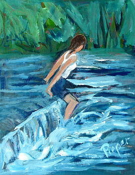 Betty Pieper - Girl Bathing in River Rapids