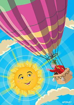 Martin Davey - Girl in a balloon greeting a happy sun
