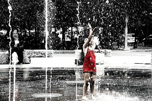 Girl in Boston Fountain by Joseph Duba