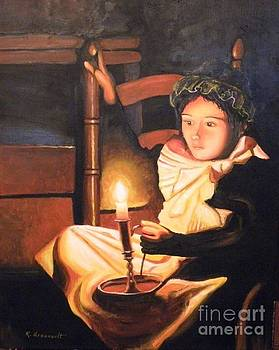 Girl In Chair With Candlelight by Robert Arsenault