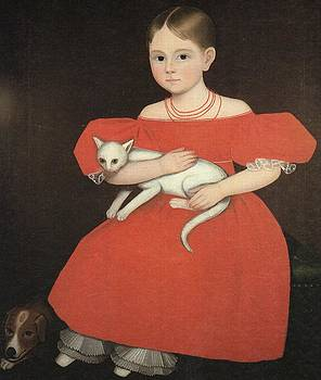 Girl In Red with Cat and Dog by Ammi Phillips