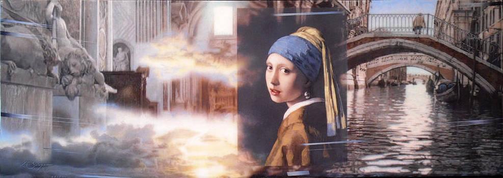 Girl In Venice After Vermeer by Loren Salazar