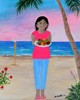 Girl on a Beach with Mangoes by Amy Scholten