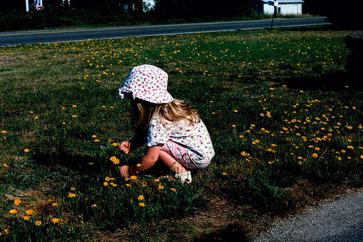 Girl Picking Flowers by Ken Branch