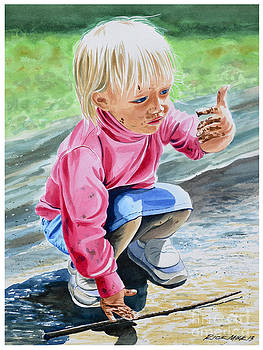 Girl playing in Mud by Rick Mock