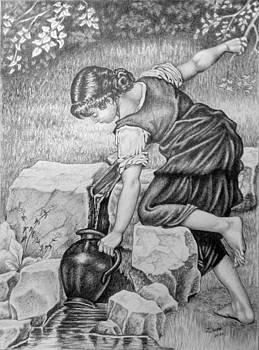 Girl with a pitcher. by Zdzislaw Dudek