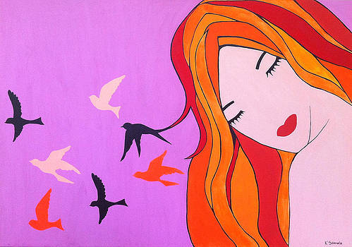 Girl with birds by Kristine Sedmale
