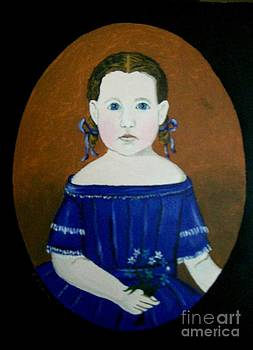 Girl With Blue Flowers by Robert Arsenault