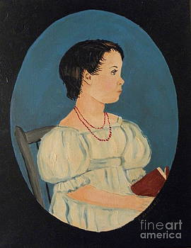 Girl with book with antinque finish by Robert Arsenault