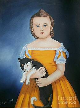 Girl With Cat by Robert Arsenault