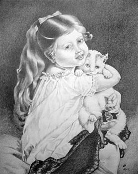 Girl with cat. by Zdzislaw Dudek