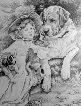 Girl with dogs. by Zdzislaw Dudek