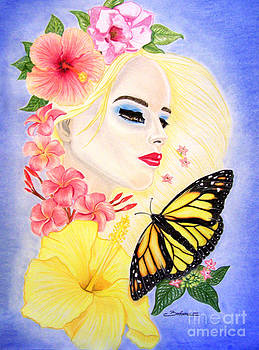 Girl With Flowers and Butterfly by Barbara Pelizzoli