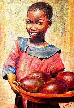 Girl with pear  by Carvil Gunter