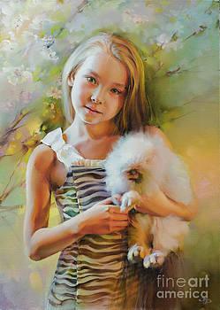 Girl with rabbit by Roman Romanov