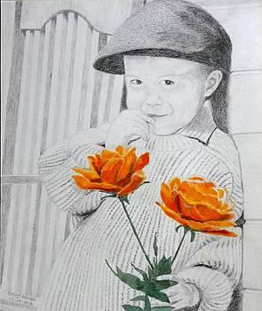 Girl with roses by Rashid Hamza