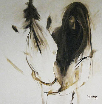 Girl with White Horse by Donna Thomas