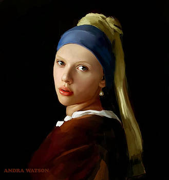 Girl with white pearl by Andra Watson