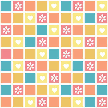 Girly Heart Square Pattern Retro Daisy Flowers by Tracie Kaska