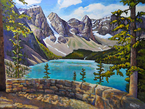 Glacier Mountains by the Lake by Eileen  Fong