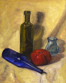Glass Bottles and a Tomato by Jennifer Braxton
