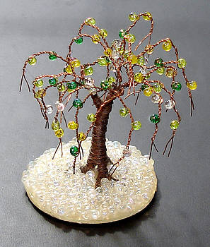 Glass Oak Mini Wire Tree Sculpture by Sal Villano