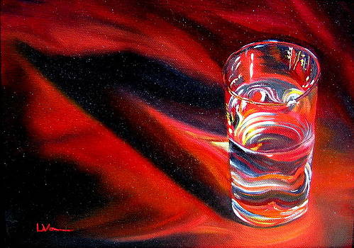 Glass of water on Red by LaVonne Hand