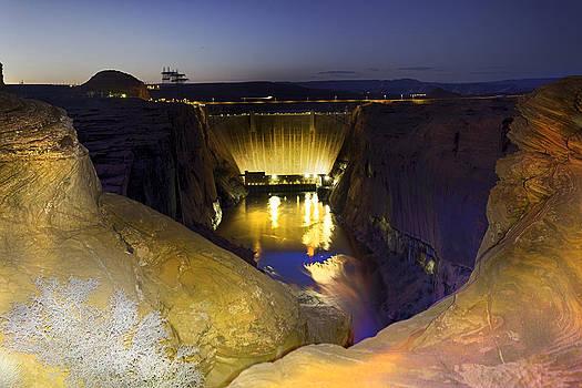 Glen Canyon Dam At Night by Jodi Jacobson