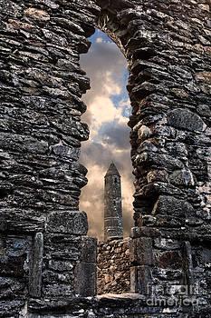 Glendalough Round Tower by Derek Smyth