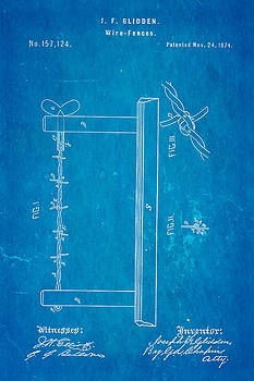 Ian Monk - Glidden Barbed Wire Patent Art 1874 Blueprint