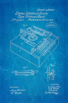Ian Monk - Glidden Type Writer Patent Art 1868 Blueprint