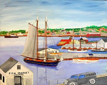 Gloucester Fish Mkt. and Schooners 1939 by Bill Hubbard