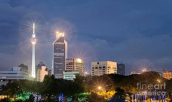 Glowing lights of Kuala Lumpur - Malaysia - South East Asia by David Hill
