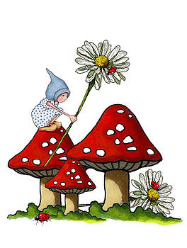 Joyce Geleynse - Gnome with Toadstools and Daisy