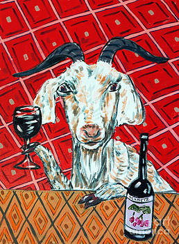 Goat at the Wine tasting by Jay  Schmetz