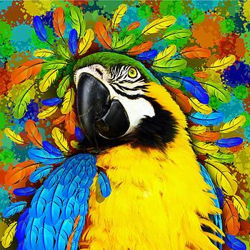 Gold and Blue Macaw Fantasy by BluedarkArt Lem