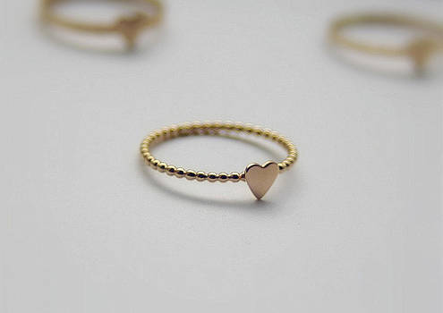 Gold Filled Stacking Ring Heart Ring Bridal Jewelry Valentine Jewelry Love Symbol Ring by Nadina Giurgiu