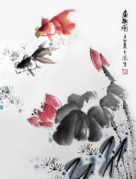 Gold Fish in Lotus Pond by Yufeng Wang